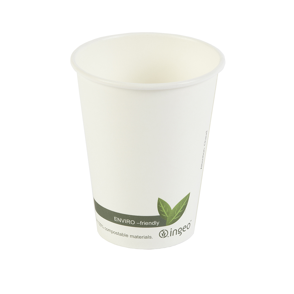 12oz PLA Biodegradable Hot Drink Disposable Coffee Cups & Lids