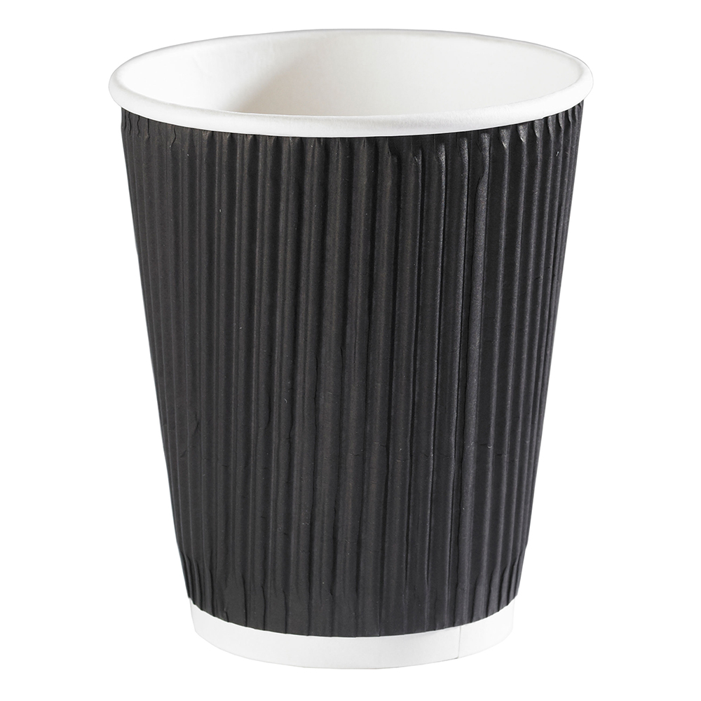 12oz Black Ripple Wall Hot Drink Disposable Coffee Cups & Lids