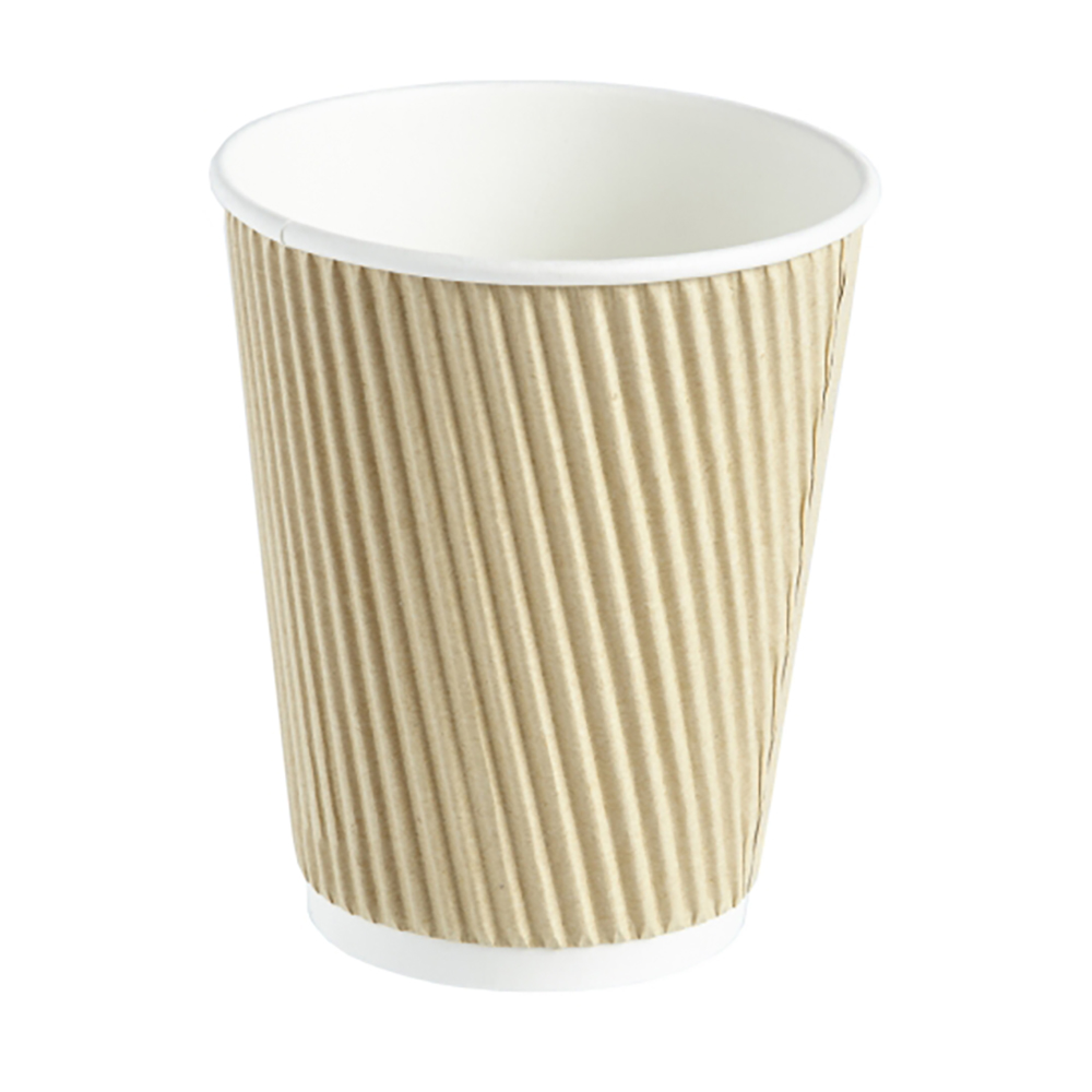 12oz Kraft Ripple Wall Hot Drink Disposable Coffee Cups & Lids
