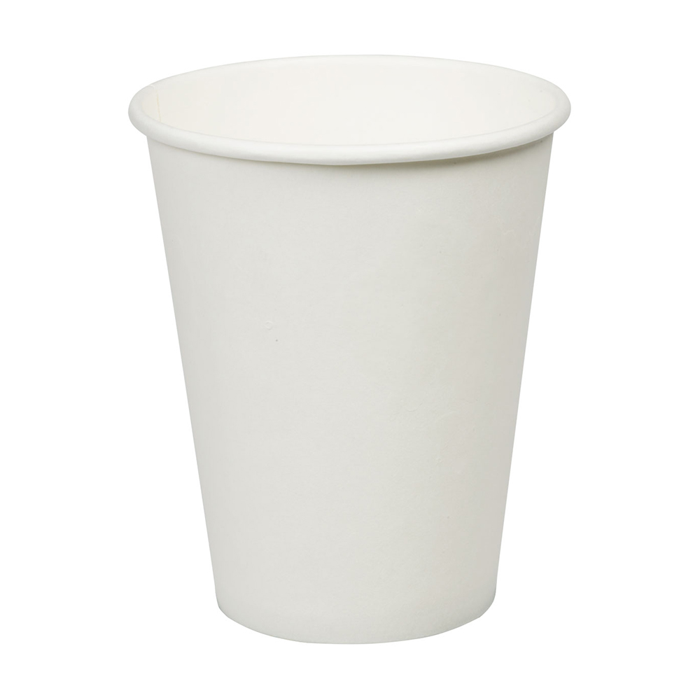 12oz Plain White Hot Drink Disposable Coffee Cups & Lids