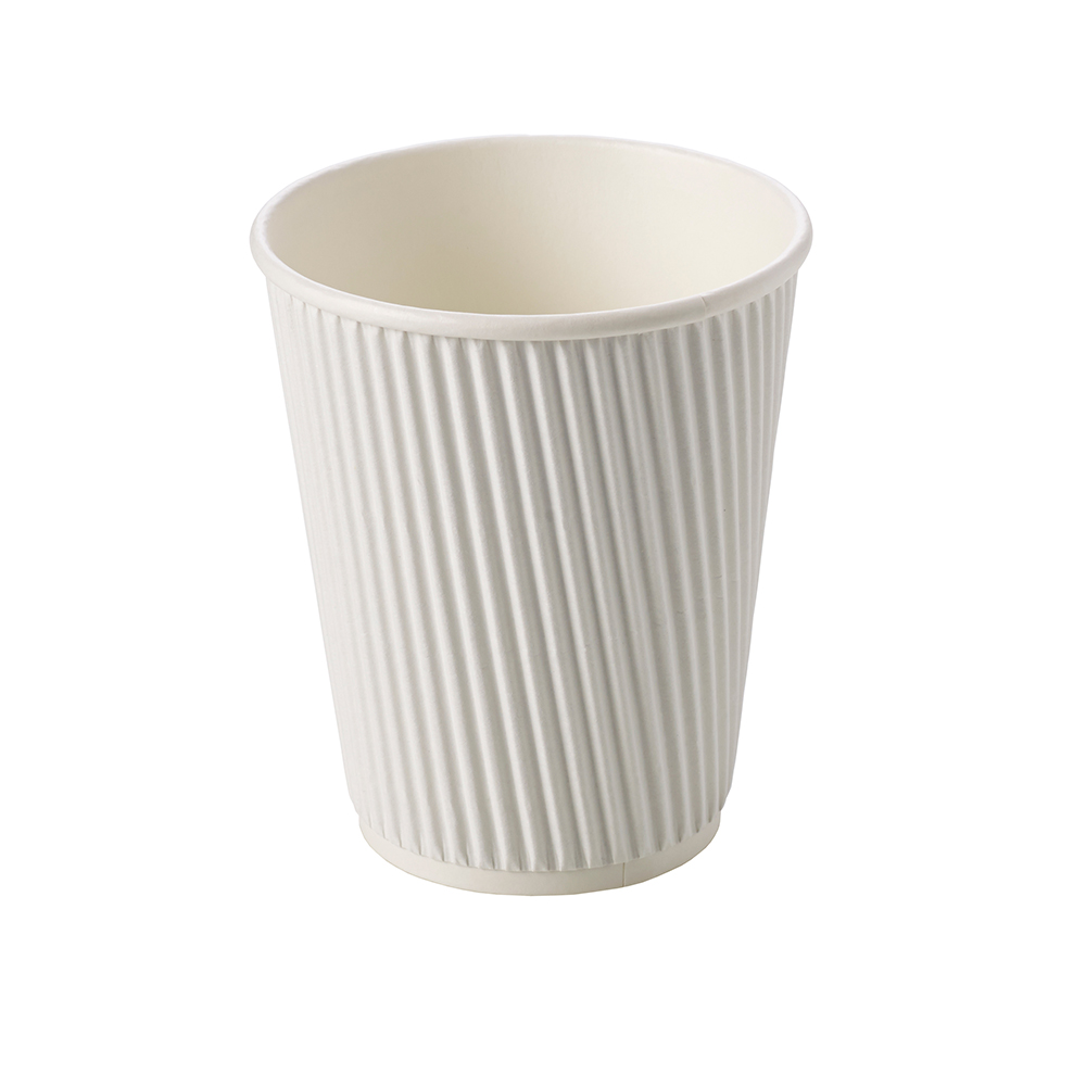 12oz White Ripple Wall Hot Drink Disposable Coffee Cups & Lids