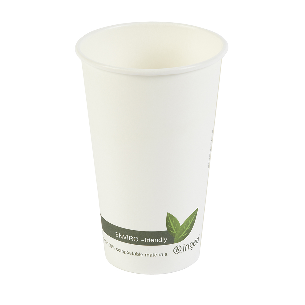 16oz PLA Biodegradable Hot Drink Disposable Coffee Cups & Lids