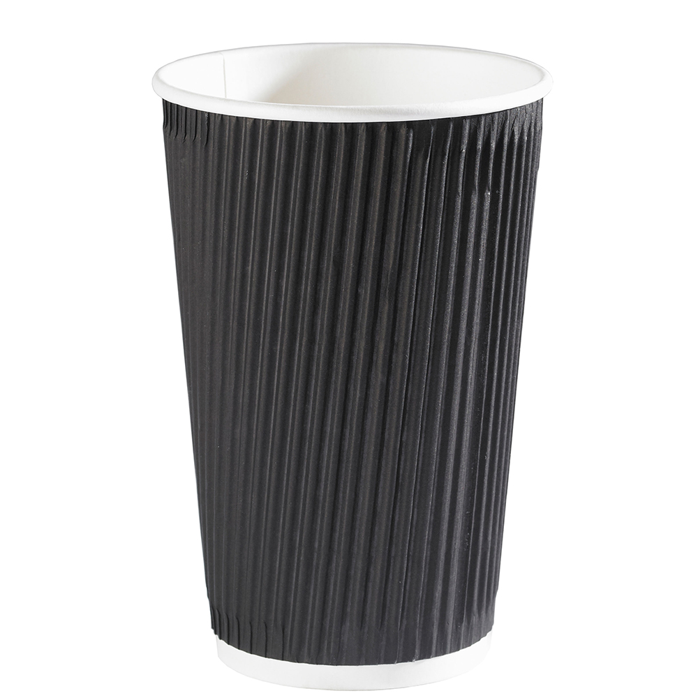 16oz Black Ripple Wall Hot Drink Disposable Coffee Cups & Lids