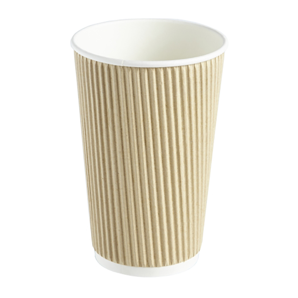16oz Kraft Ripple Wall Hot Drink Disposable Coffee Cups & Lids