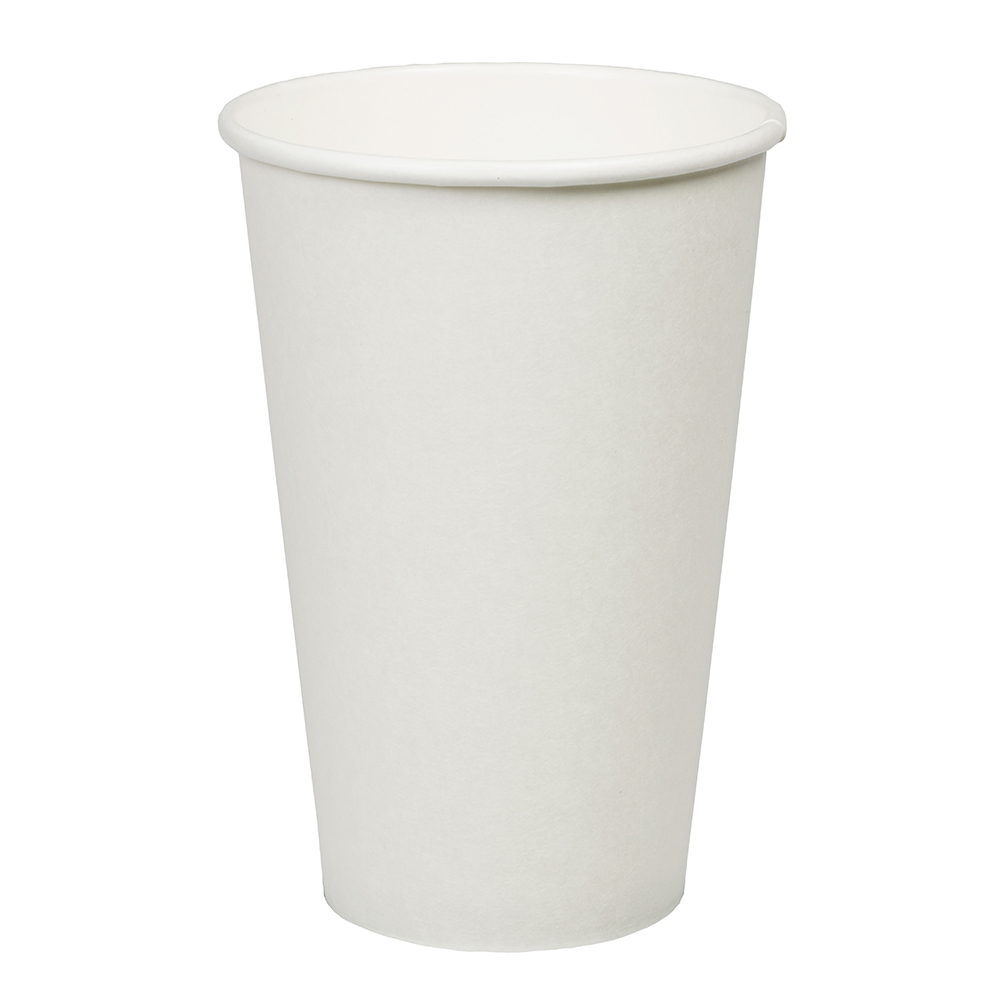 16oz Plain White Hot Drink Disposable Coffee Cups & Lids