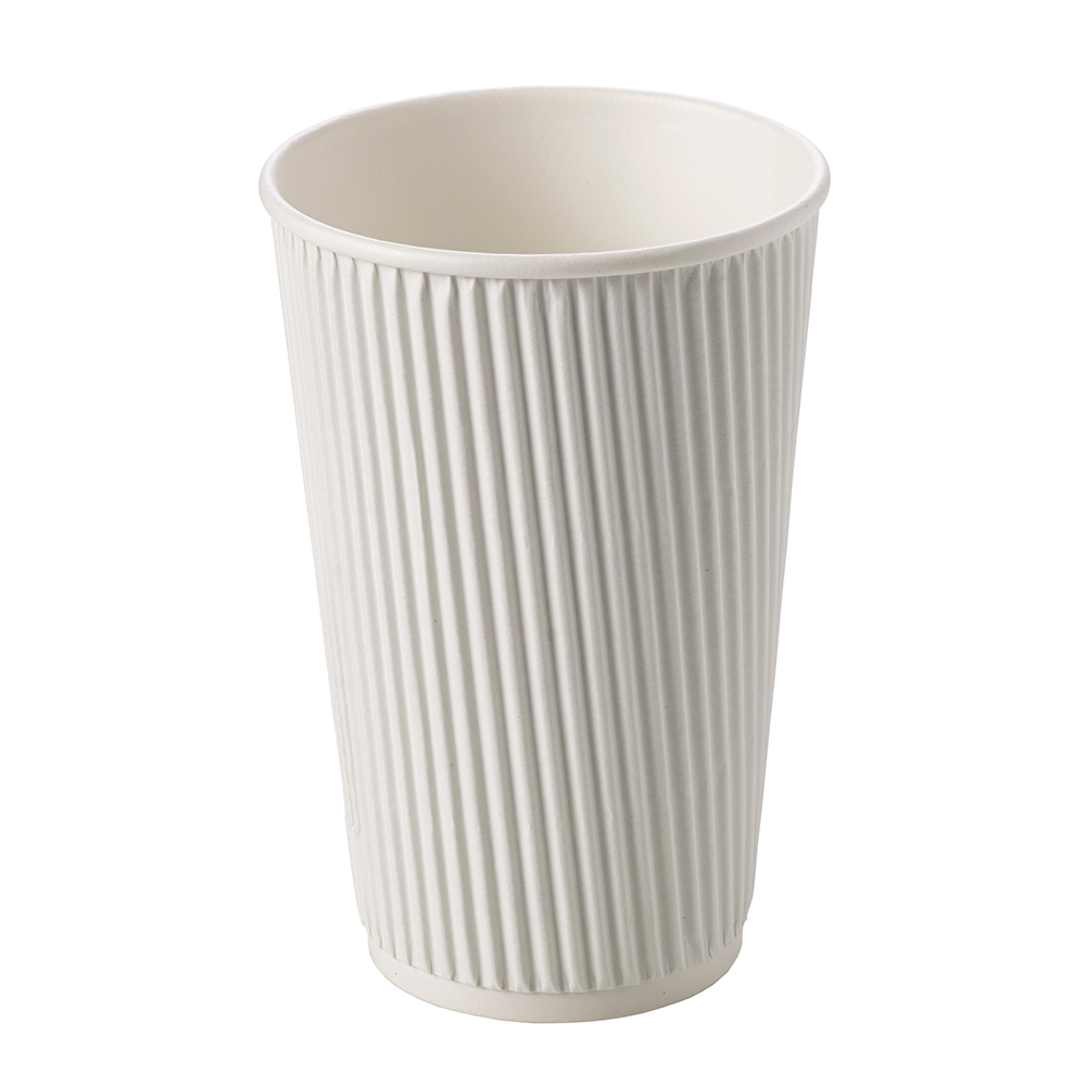 16oz White Ripple Wall Hot Drink Disposable Coffee Cups & Lids