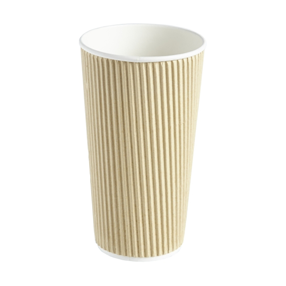 20oz Kraft Ripple Wall Hot Drink Disposable Coffee Cups & Lids