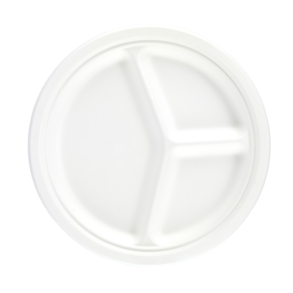 10'' Bagasse 3 Compartment Round Plate