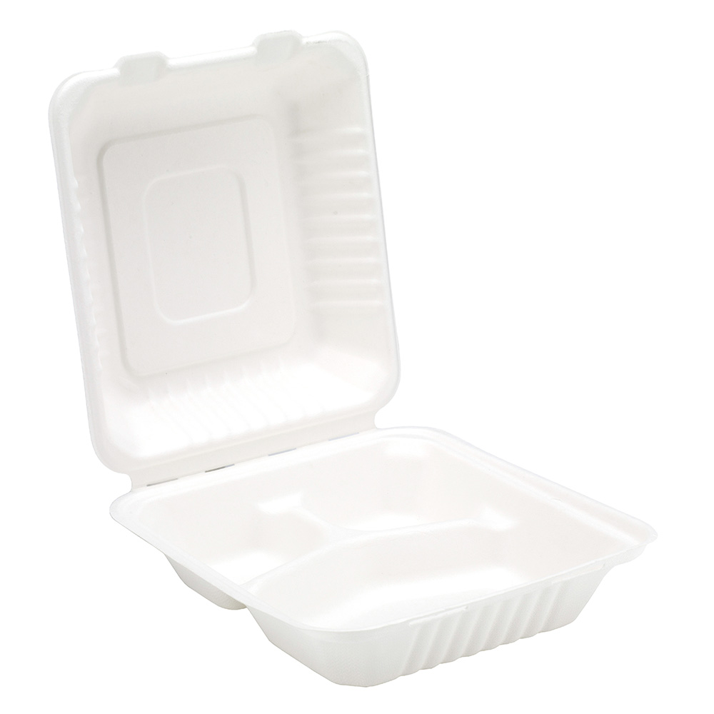 8'' Bagasse 3 Compartment Meal Box