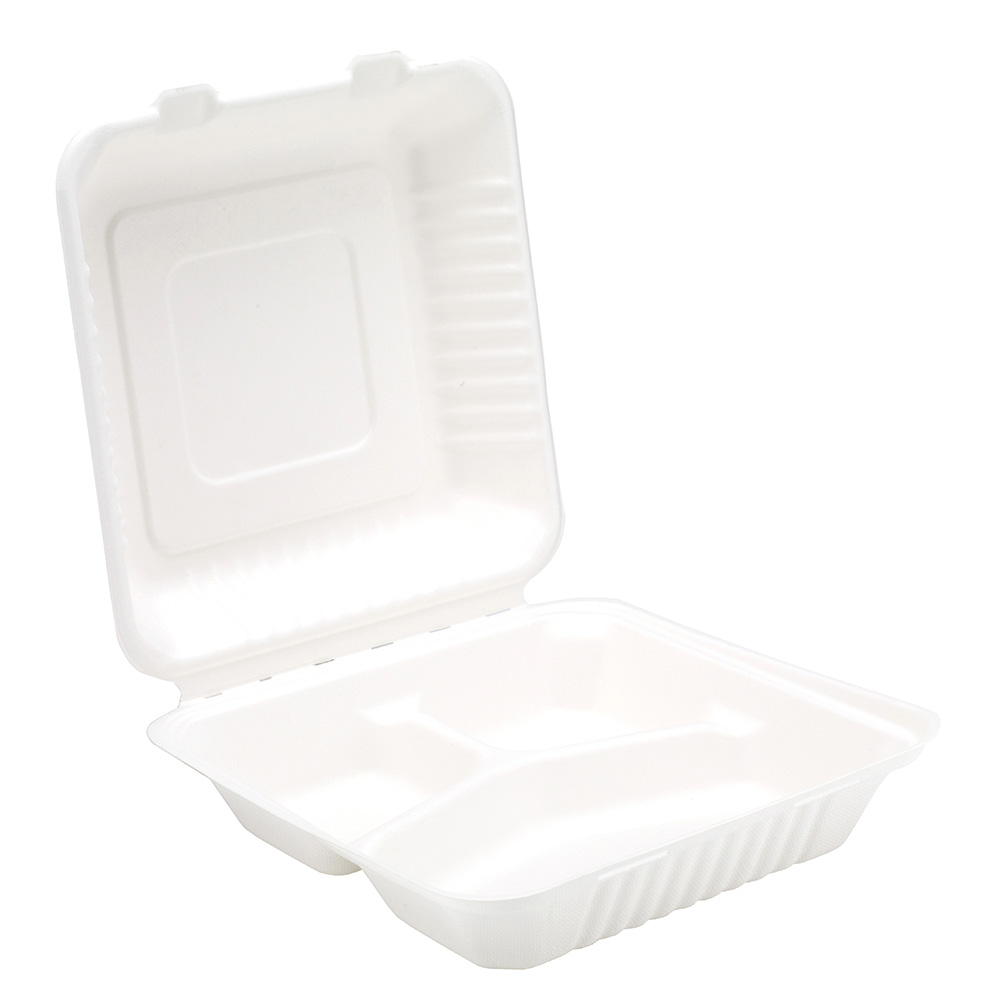 9'' Bagasse 3 Compartment Meal Box