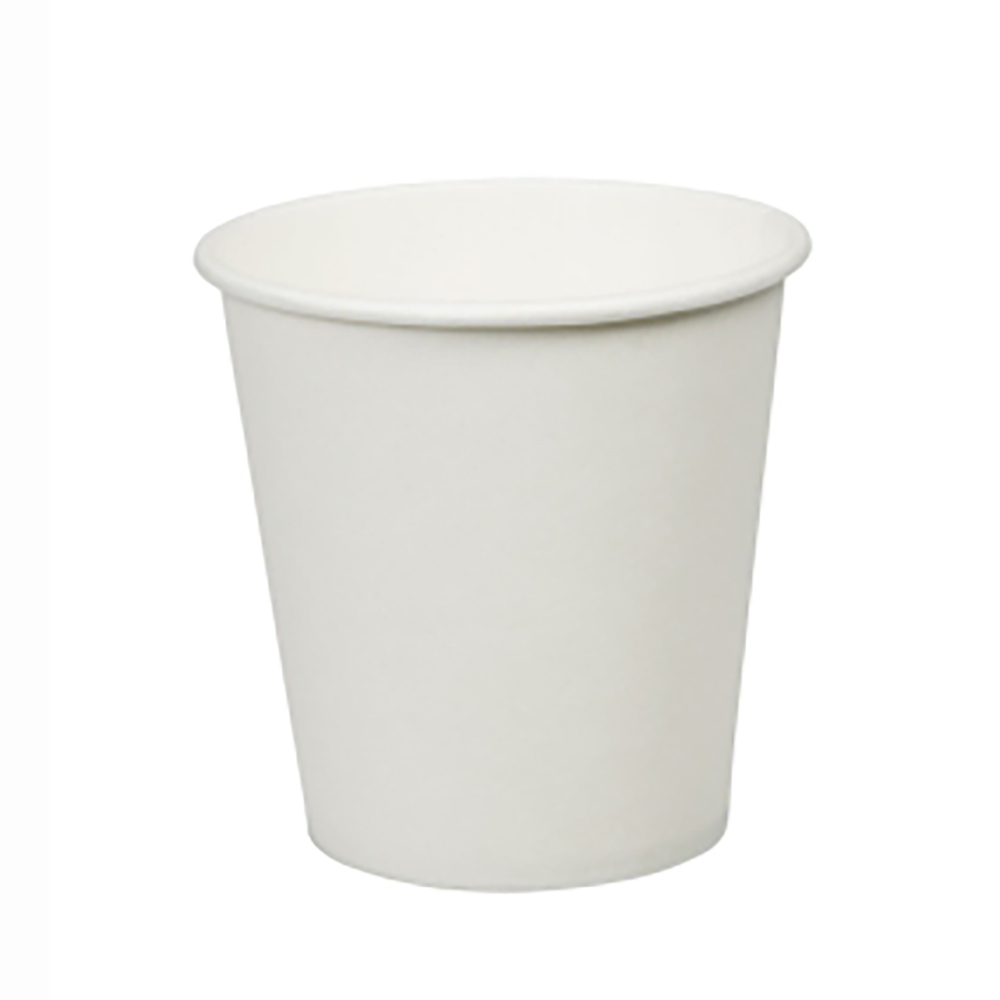 4oz Plain White Hot Drink Disposable Coffee Cups & Lids