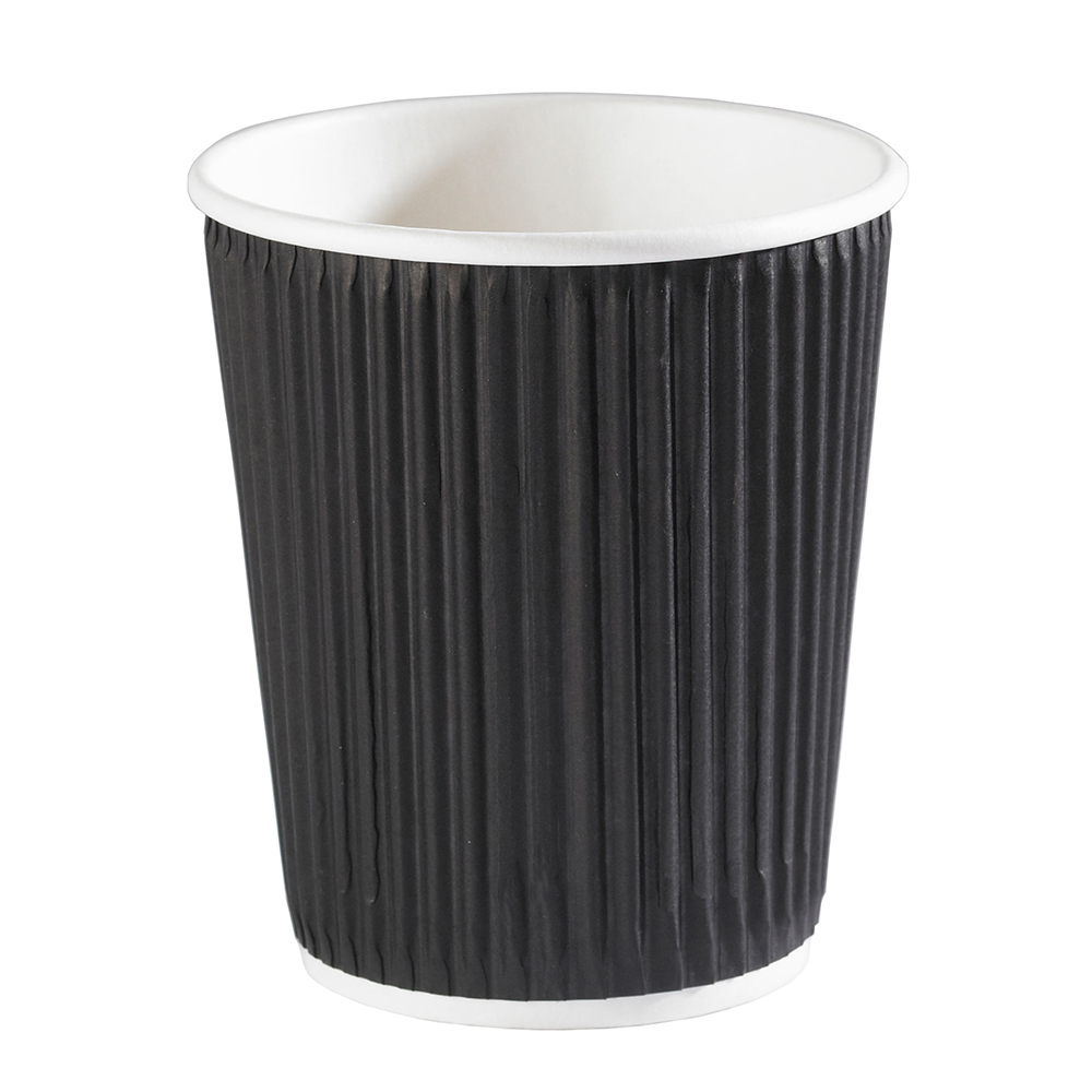 8oz Black Ripple Wall Hot Drink Disposable Coffee Cups & Lids