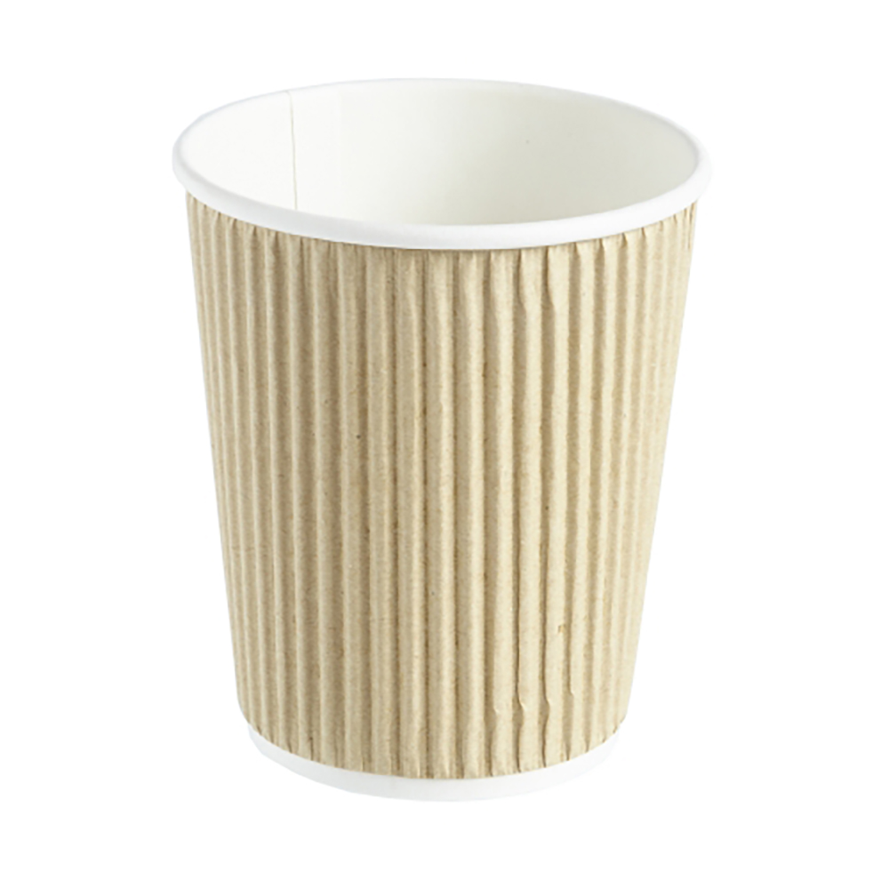 8oz Kraft Ripple Wall Hot Drink Disposable Coffee Cups & Lids