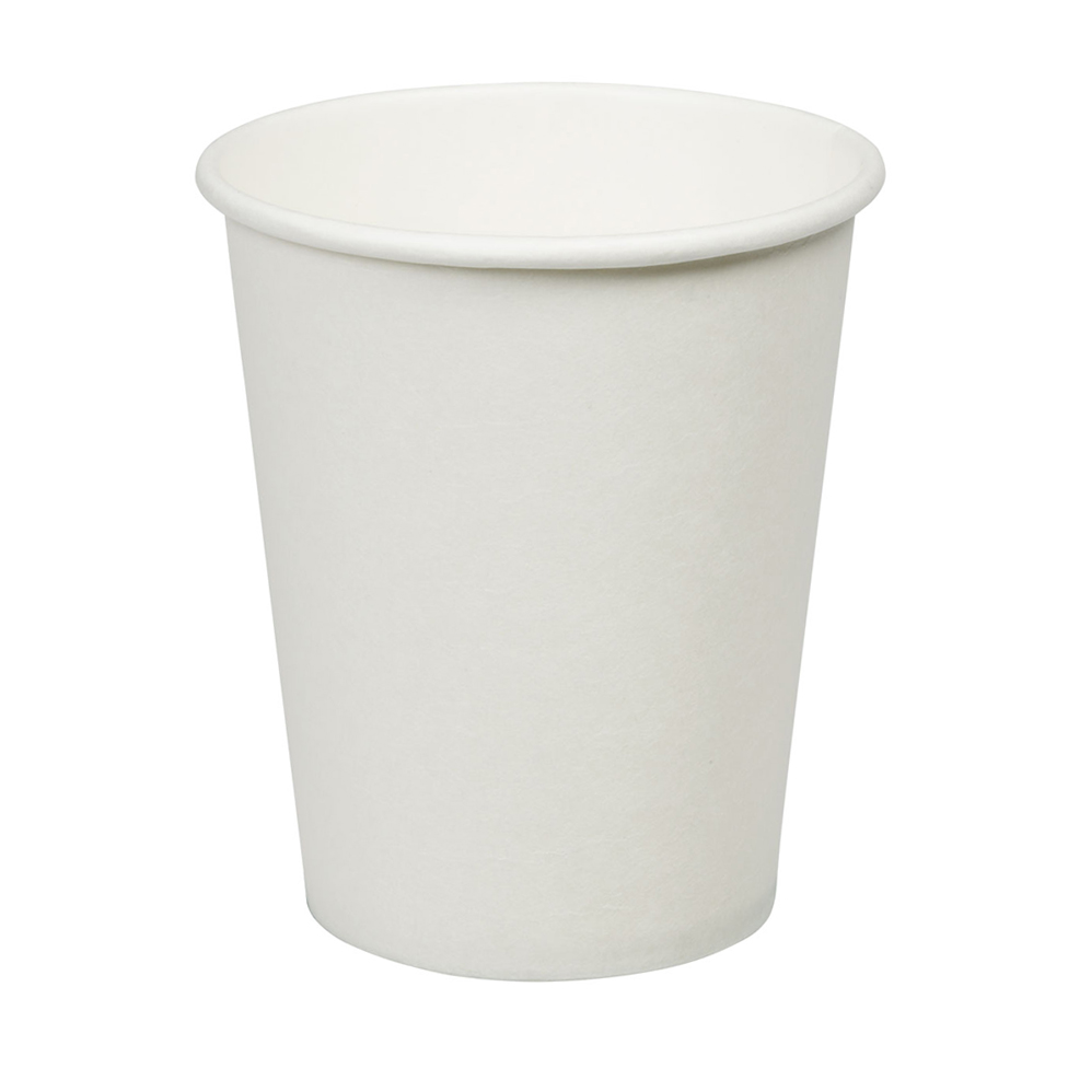 8oz Plain White Hot Drink Disposable Coffee Cups & Lids