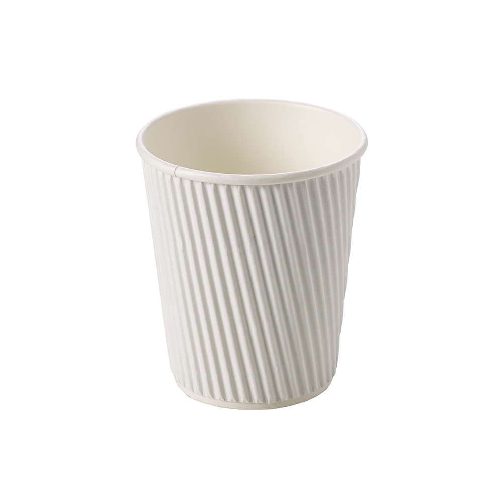 8oz White Ripple Wall Hot Drink Disposable Coffee Cups & Lids