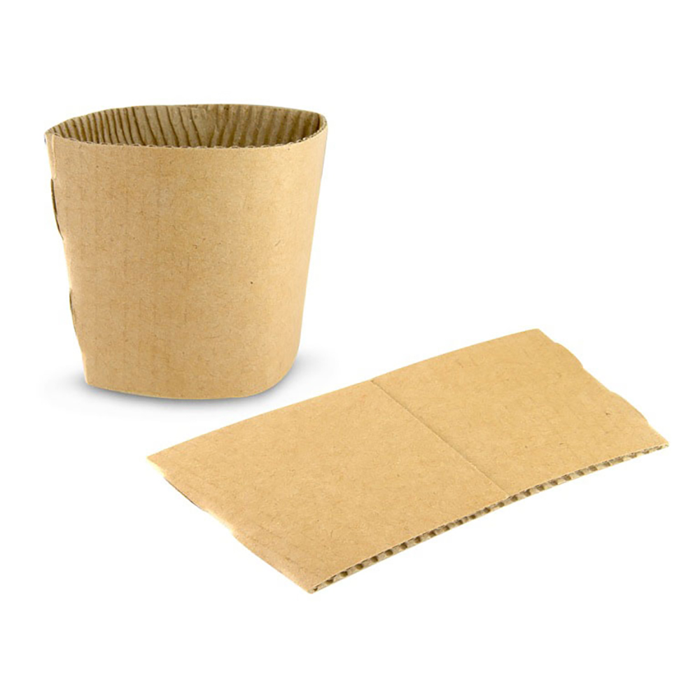 Small Unprinted Sleeves For Disposable Coffee Cups – Brown