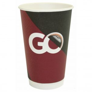 "16oz ""Go"" Design Smooth Double Wall Disposable Coffee Cups & Lids"