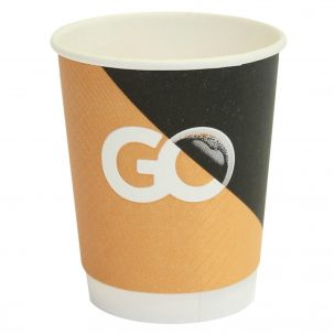 """8oz """"Go"""" Design Smooth Double Wall Disposable Coffee Cups & Lids"""