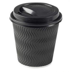 500 X Black Triple Wall Cups And Lids
