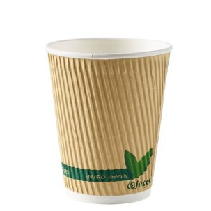 12oz Kraft Compostable Ripple Paper Cups