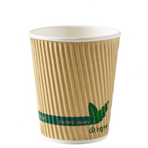 8oz Kraft Compostable Ripple Paper Cups